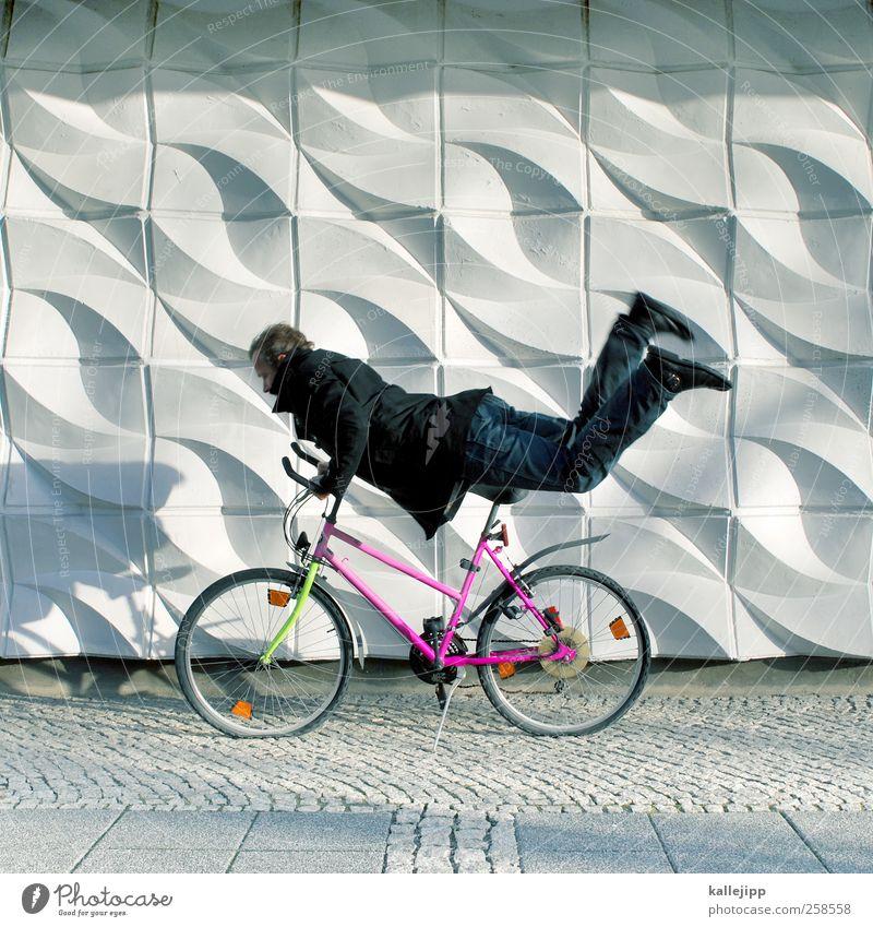 need for speed Mensch Mann Erwachsene Straße Bewegung Wege & Pfade Mauer Körper Fahrrad Freizeit & Hobby maskulin Verkehr Geschwindigkeit Lifestyle fahren fallen