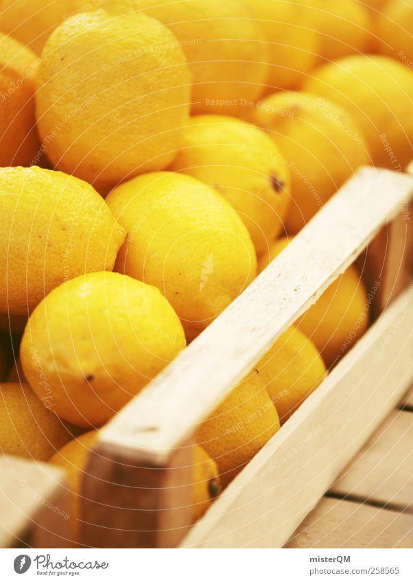 Sauer macht lustig. Lebensmittel ästhetisch Zitrone Zitronensaft zitronengelb Zitronenbaum Zitronenschale viele grell sauer Frucht Markt Markttag Stapel
