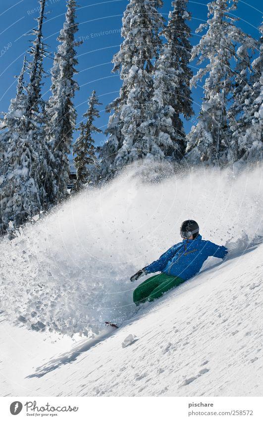 Winter Wunderland blau Freude Berge u. Gebirge Schnee Sport Glück außergewöhnlich Freizeit & Hobby genießen Lebensfreude Abenteuer Coolness sportlich
