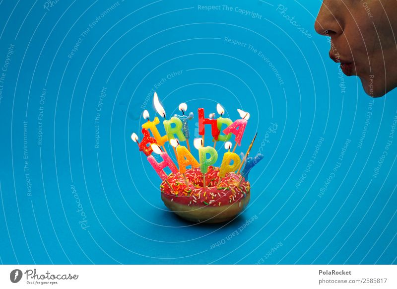#A# Pustekuchen! feminin 1 Mensch Kunst ästhetisch Krapfen Backwaren Süßwaren lecker ungesund Happy Birthday Geburtstag Geburtstagstorte Geburtstagsgeschenk