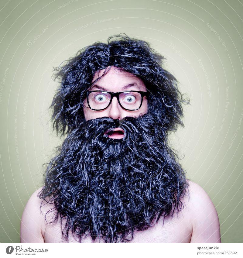 Hair Mensch maskulin Mann Erwachsene 1 30-45 Jahre beobachten schwarz Brille Freak Haare & Frisuren Urzeitmensch skurril Humor lustig erstaunt Schrecken wild