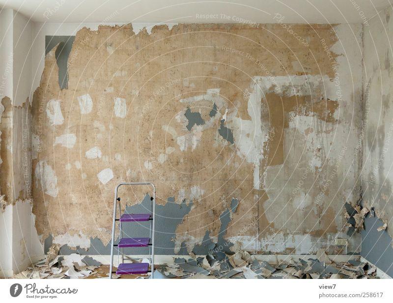 es gibt immer was zu tun Wand Stein Mauer Innenarchitektur Raum Fassade Beton Beginn Häusliches Leben Wandel & Veränderung Reinigen Umzug (Wohnungswechsel) Gelassenheit Tapete Verfall machen