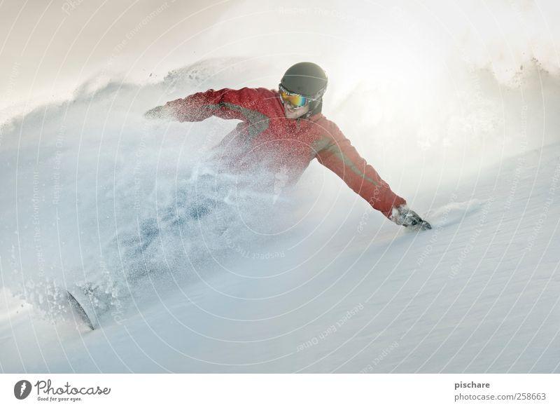 PowPow Freude Winter Berge u. Gebirge Schnee Sport Geschwindigkeit Abenteuer Coolness sportlich Leidenschaft Schwung Snowboard Wintersport Winterurlaub Kurvenlage Skipiste