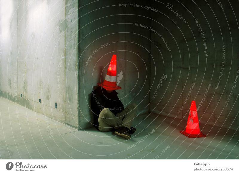 crashtest-dummy Mensch maskulin Mann Erwachsene Körper Kopf 1 Kunst Künstler Schauspieler sitzen Hut Mode hocken Verkehr Farbfoto mehrfarbig Innenaufnahme