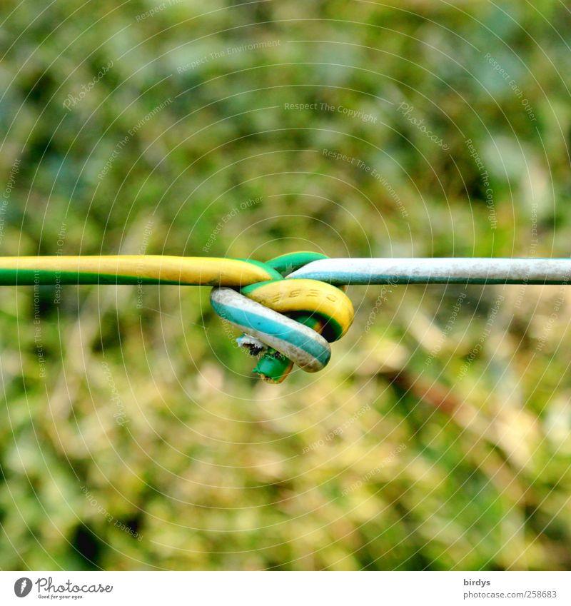Knotenpunkt grün gelb authentisch Kabel Quadrat Verbindung Stress Zusammenhalt Spannung Knoten Verlässlichkeit Tauziehen Knotenpunkt Verbindungstechnik