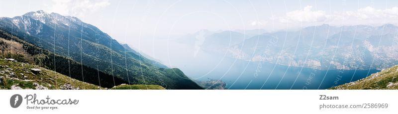 Lago di Garda Umwelt Natur Landschaft Himmel Wolken Sommer Schönes Wetter Berge u. Gebirge Gipfel Seeufer gigantisch Unendlichkeit blau grün Idylle nachhaltig