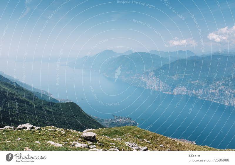 Lago di Garda Umwelt Natur Landschaft Himmel Sommer Schönes Wetter Berge u. Gebirge Seeufer gigantisch Unendlichkeit nachhaltig blau grün