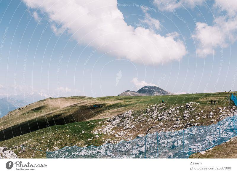 Monte Baldo | Licht und Schatten Natur Landschaft Wolken Sonne Sommer Schönes Wetter Wiese Alpen Berge u. Gebirge Gipfel blau grün Einsamkeit Freizeit & Hobby