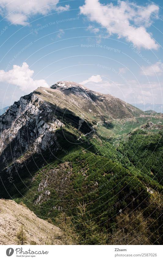 Monte Baldo | Italien Umwelt Natur Landschaft Himmel Wolken Sonne Sommer Schönes Wetter Wald Alpen Berge u. Gebirge Gipfel hoch natürlich blau grün Energie