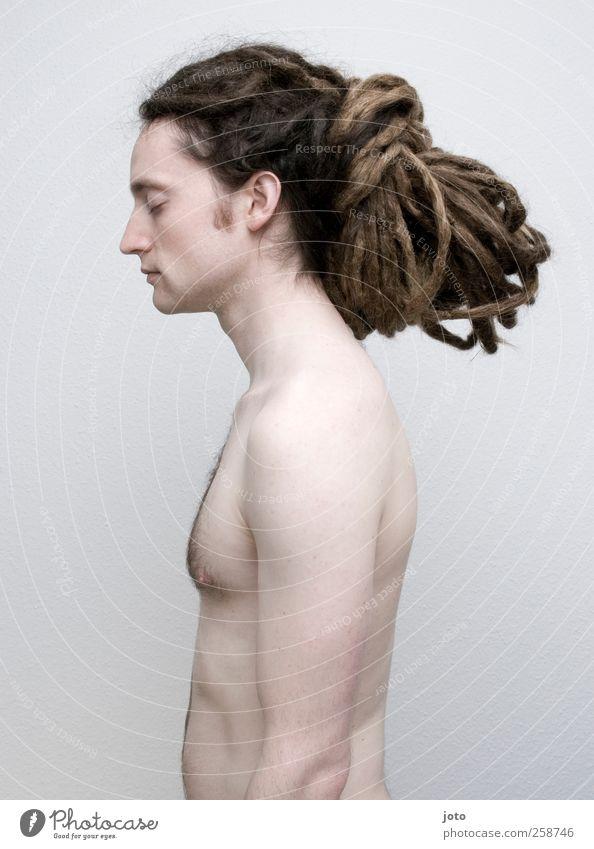 knoten Jugendliche schön nackt Einsamkeit ruhig Junger Mann Haare & Frisuren Stil außergewöhnlich maskulin Kraft warten Coolness genießen einzigartig Akt