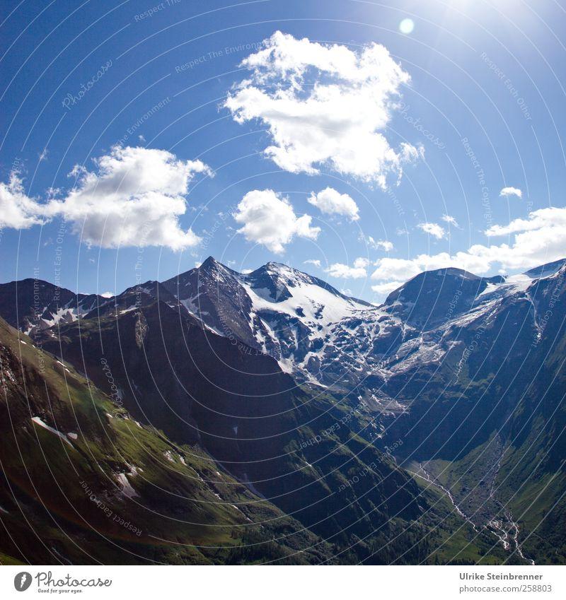 Berg und Tal Natur Landschaft Pflanze Luft Himmel Wolken Sonne Sommer Schönes Wetter Schnee Sträucher Moos Alpen Berge u. Gebirge Hohe Dock Großglockner