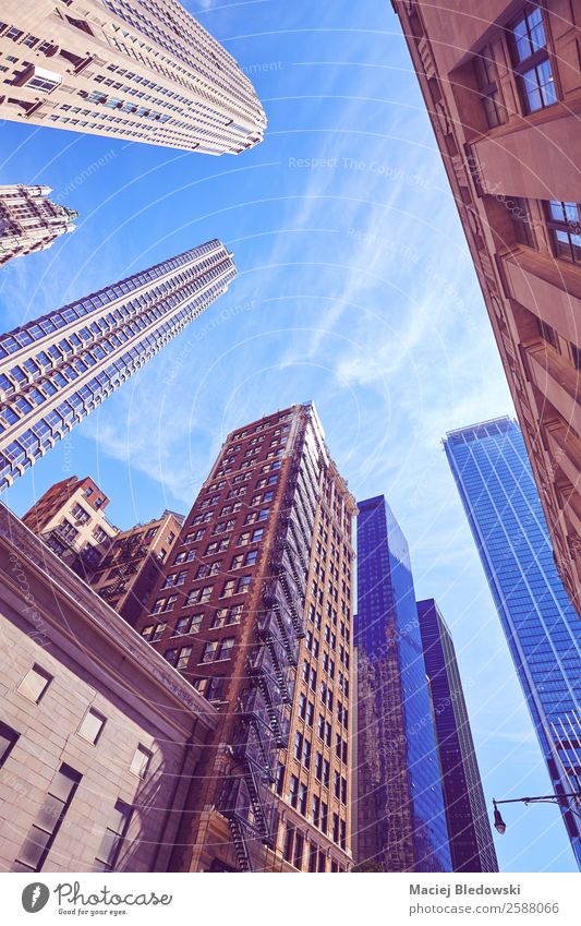 Manhattan moderne und alte Wolkenkratzer. Büro Business Himmel Stadt Stadtzentrum bevölkert überbevölkert Hochhaus Bankgebäude Gebäude Architektur Fassade