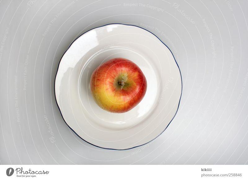 Frühstück Frucht Apfel Ernährung Mittagessen Picknick Bioprodukte Vegetarische Ernährung Diät Geschirr Teller Symmetrie Farbfoto Studioaufnahme