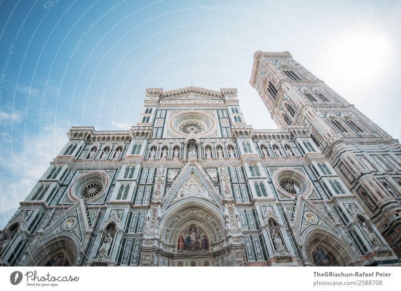 Santa Maria del Fiore Stadt alt Bauwerk Kunstwerk Italien Florenz Kathedrale Turm ästhetisch Tourismus Gegenlicht Sonne Farbfoto Außenaufnahme Textfreiraum oben