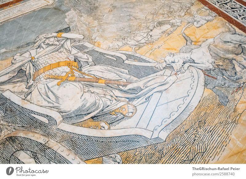 Marmor Kunst gold weiß Kirche Boden Bild Bibel Geschichtsbuch Krieger Religion & Glaube Farbfoto Innenaufnahme Detailaufnahme Tag