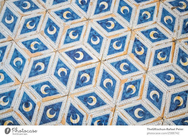Muster Kunst blau gold silber weiß Boden Fliesen u. Kacheln Strukturen & Formen Kirche Stern Mond Quadrat Farbfoto Innenaufnahme Menschenleer Textfreiraum oben