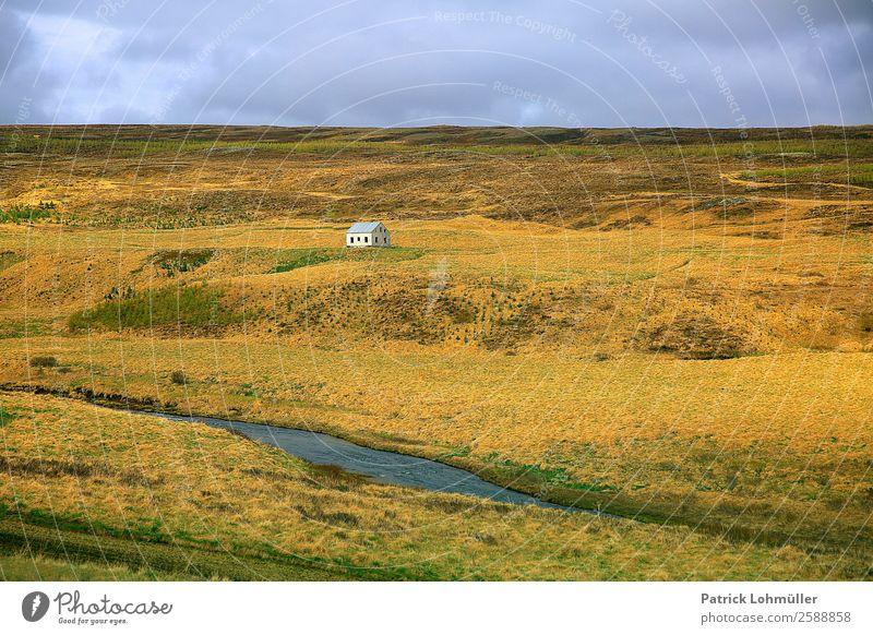 Islands Metropolen Himmel Natur Ferien & Urlaub & Reisen alt blau grün Wasser Landschaft Haus Einsamkeit ruhig Ferne Umwelt kalt Gras außergewöhnlich
