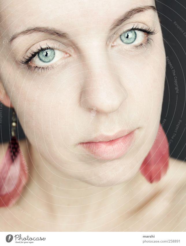 pure Stil Mensch feminin Frau Erwachsene Jugendliche Haut Kopf 1 18-30 Jahre schön Ohrringe Feder blauäugig hellhäutig Blick intensiv Hoffnung Erwartung