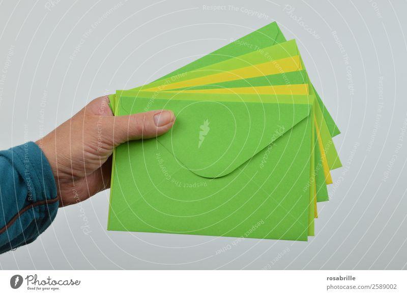 Post für Dich Einladung Hand Schreibwaren Papier Sammlung Brief Briefumschlag Postbote Gruß Urlaubsgrüße mehrfarbig gelb grün geben erhalten empfangen