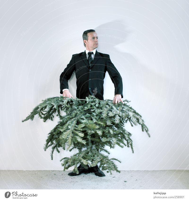 mann trägt jetzt baum! Mensch Mann Natur Baum Pflanze Erwachsene Umwelt Haare & Frisuren Mode Feste & Feiern Schuhe maskulin modern Bekleidung Kleid Weihnachtsbaum