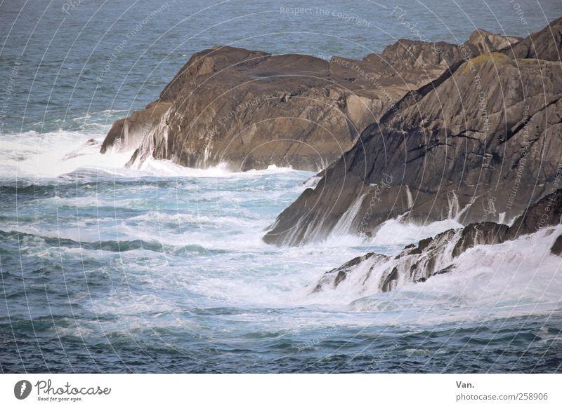 Fels in der Brandung blau Wasser Ferien & Urlaub & Reisen Meer kalt Umwelt Küste Stein Wellen Felsen nass wild frisch Brandung Gischt Atlantik