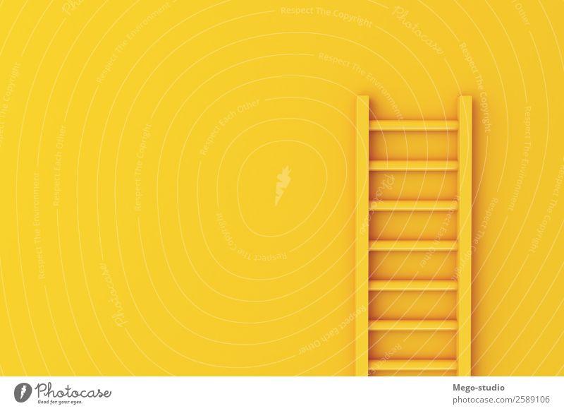 3d Leiter auf gelbem Wandhintergrund. Klettern Bergsteigen Erfolg Arbeit & Erwerbstätigkeit Business Karriere Werkzeug Gebäude Treppe Wachstum hoch Sicherheit