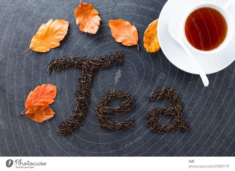 Schwarzer Tee Getränk natürlich Lebensmittel trinken trocknen getrocknet Teepflanze buchstabiert Brief schreibend schriftlich camellia sinensis Briten Englisch