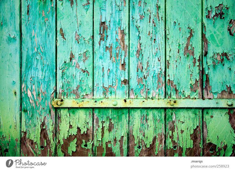 Strukturiert Stil Design Mauer Wand Tür Tor Holz leuchten alt außergewöhnlich einzigartig grün Farbe Nostalgie Verfall Vergänglichkeit türkis Hintergrundbild