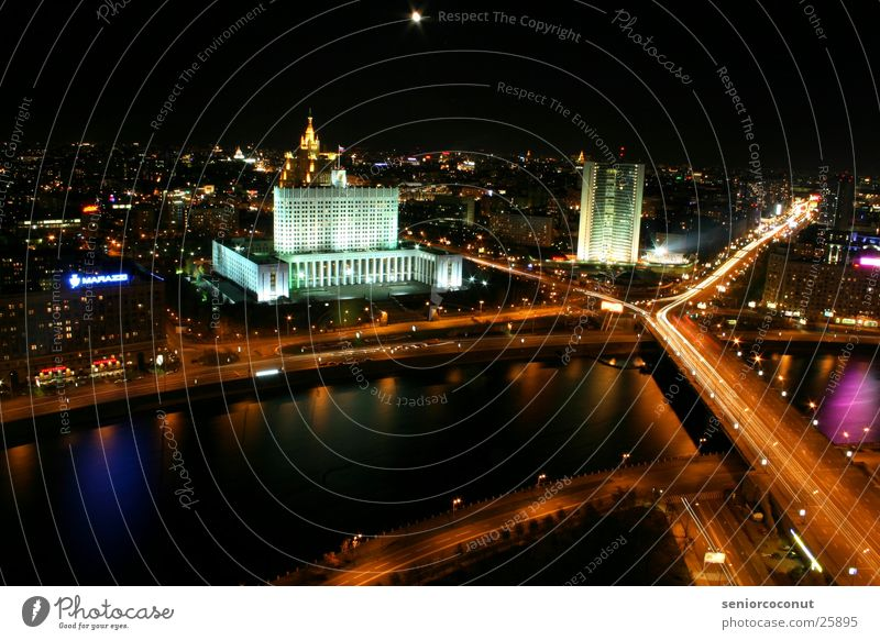 Moscow lights 1 Moskau Nacht Hochhaus Europa Fluss Licht Brücke Straße