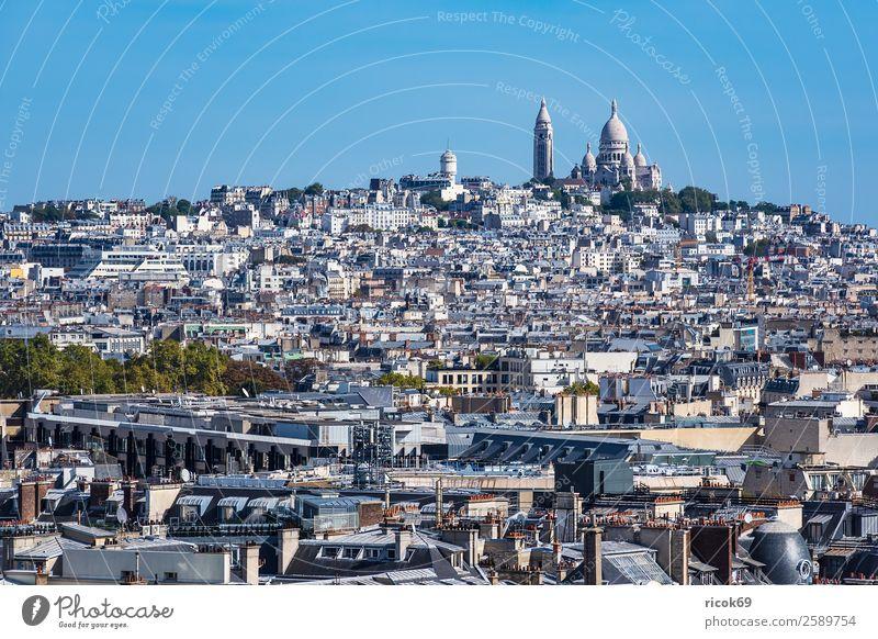 Blick auf die Basilika Sacre-Coeur in Paris, Frankreich Erholung Ferien & Urlaub & Reisen Tourismus Städtereise Haus Wolken Herbst Stadt Hauptstadt Gebäude