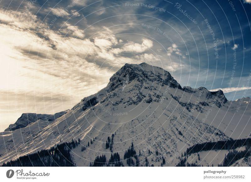 Weißer Riese Himmel Natur Ferien & Urlaub & Reisen blau weiß Pflanze Sonne Baum Landschaft Wolken Winter gelb kalt Berge u. Gebirge Felsen groß