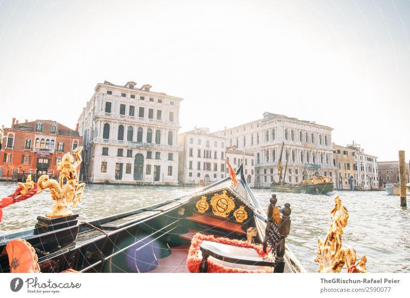 Venedig - Gondel Dorf Stadt blau gold grün rot schwarz Tourismus Riesenrad Ornament Wasserfahrzeug Haus Kanal Canal Grande alt ästhetisch Farbfoto Außenaufnahme