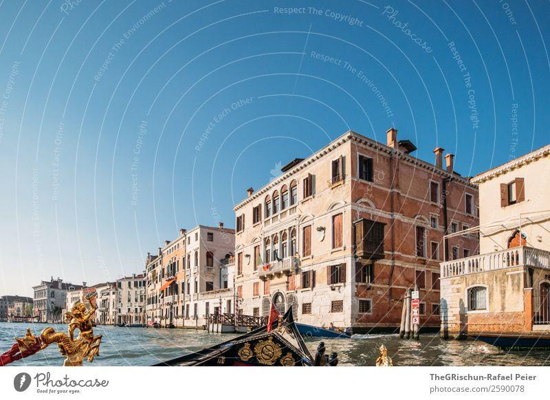 Venedig_Gondola Kleinstadt Stadt Hafenstadt Sehenswürdigkeit Wahrzeichen blau braun gelb gold Italien Gebäude Altertum sehenswert Riesenrad Wasserfahrzeug Kanal