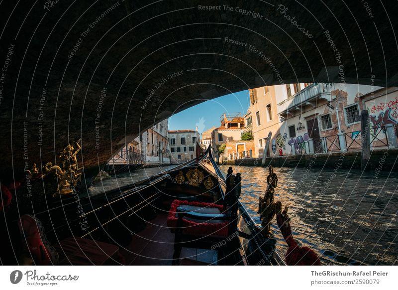 Brücke Kleinstadt Stadt Hafenstadt Sehenswürdigkeit Denkmal blau braun gelb gold rot schwarz Venedig Italien Wasserfahrzeug Schifffahrt Riesenrad Kanal