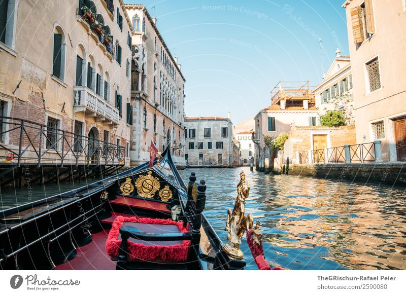 Gondelfahrt Dorf Kleinstadt Stadt Hafenstadt Sehenswürdigkeit Denkmal blau braun gold rot schwarz Venedig Riesenrad Schifffahrt Romantik Italien