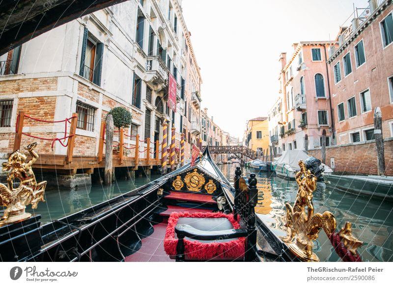 Gondola-Venedig Kleinstadt Stadt Hafenstadt Sehenswürdigkeit Denkmal braun gold grün rot schwarz weiß Gondel (Boot) Italien Reisefotografie Wasser Schifffahrt