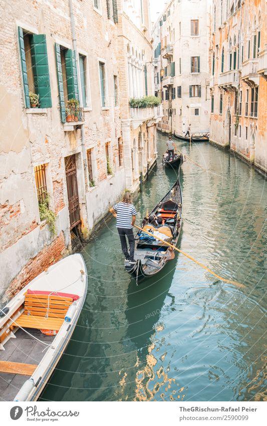 Venedig - Gondoliere Kleinstadt Stadt Hafenstadt Sehenswürdigkeit blau gelb gold grün silber weiß Italien Wasser Gondel (Boot) Kanal Wasserfahrzeug Schifffahrt