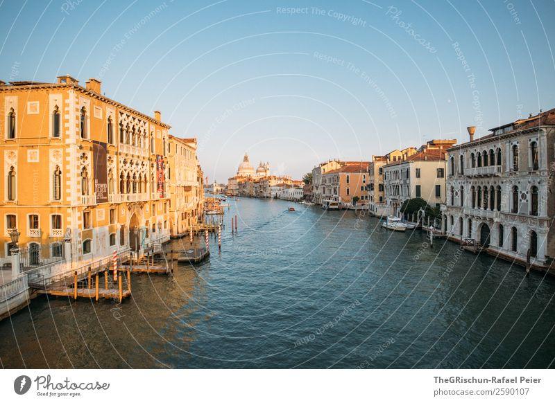 Venedig Stadt Hafenstadt Sehenswürdigkeit blau gelb gold schwarz Canal Grande Italien Dom Bauwerk Sonnenlicht Holzpfahl Steg Wasser Wasserfahrzeug Haus Altertum