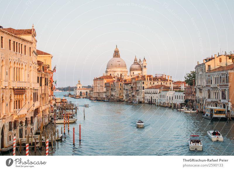 Canal Grande Stadt Hafenstadt Stadtzentrum blau braun gelb gold Dom Venedig Italien Wasser Kanal Wasserfahrzeug Bootsfahrt Holzpfahl Farbfoto Außenaufnahme