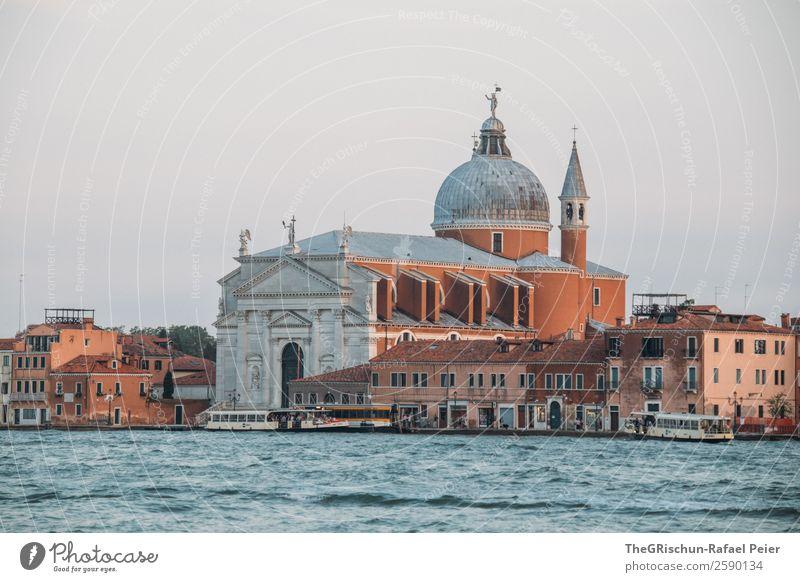 Venedig Kleinstadt Stadt Hafenstadt Kirche Dom blau braun Italien Bauwerk Kuppeldach Kirchturm Wasser Farbfoto Außenaufnahme Detailaufnahme Menschenleer