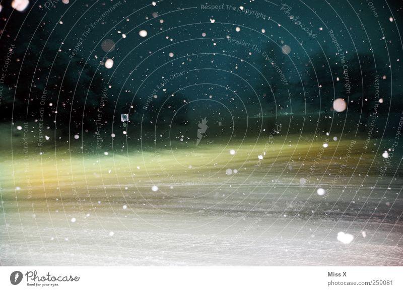 Wintermärchen II schlechtes Wetter Eis Frost Schnee Schneefall Straße Straßenkreuzung kalt Schneeflocke Punkt Winterstimmung Rutschgefahr Glätte Farbfoto
