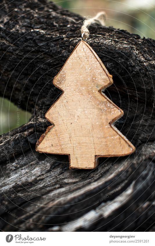 Weihnachts-Tannenform am Ast Design Winter Dekoration & Verzierung Feste & Feiern Weihnachten & Advent Natur Baum Papier Holz neu grün weiß Hintergrund