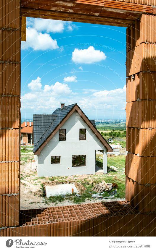 Bau eines neuen Hauses Berge u. Gebirge Familie & Verwandtschaft Himmel Gebäude Architektur authentisch modern blau schwarz weiß Konstruktion heimwärts