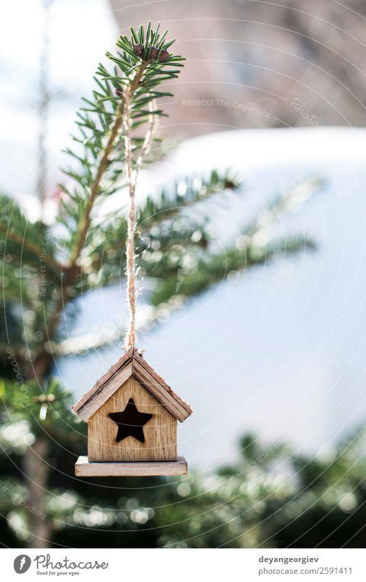 Weihnachtshaus aus Holz Design Winter Schnee Haus Dekoration & Verzierung Feste & Feiern Weihnachten & Advent Landschaft Baum Vogel weiß Tradition Hintergrund
