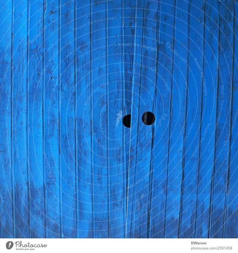 blaue Tür alt Stadt Farbe schön Haus Holz Häusliches Leben Wohnung retro geschlossen Fabrik Tor eckig Loch