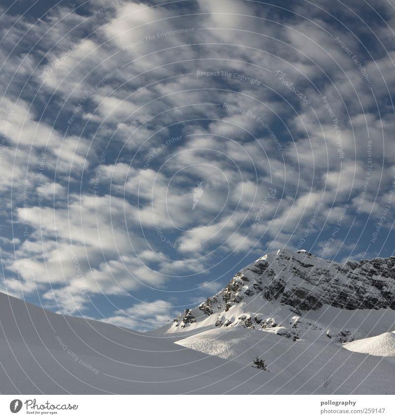 ein schäfchen... zwei schäfchen...drei... Natur Landschaft Himmel Wolken Winter Wetter Schönes Wetter Felsen Alpen Berge u. Gebirge Gipfel Schneebedeckte Gipfel