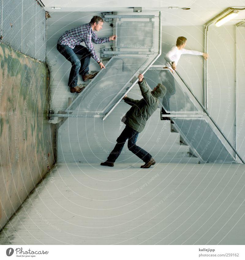 making mirrors Lifestyle Stil Freizeit & Hobby Spielen Mensch maskulin Mann Erwachsene Körper 3 30-45 Jahre Bewegung hängen Klettern Treppe konkurenz Erfolg