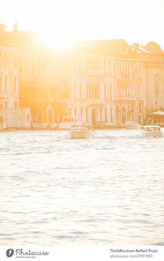 Sonnenuntergang Kleinstadt Stadt Hafenstadt gold silber weiß Gegenlicht Wasser Meerwasser Venedig Italien Canal Grande Haus Kanal Wasserfahrzeug Schifffahrt