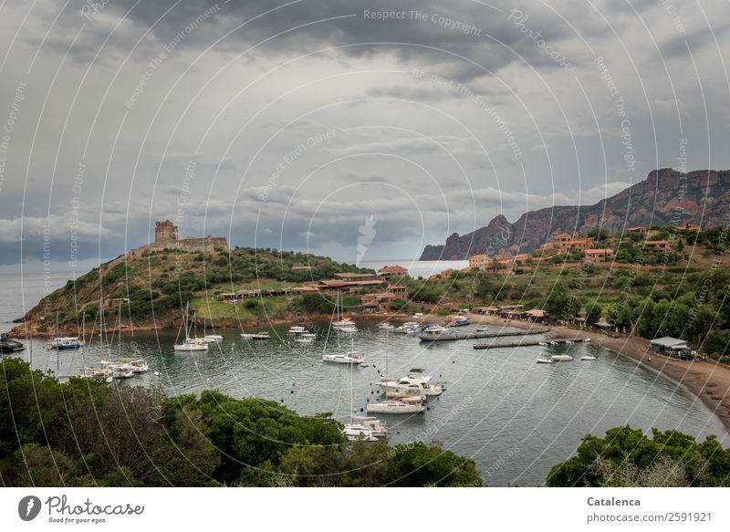 Girolata Ferien & Urlaub & Reisen Tourismus Sommerurlaub Landschaft Himmel Wolken schlechtes Wetter Felsen Berge u. Gebirge Küste Bucht Meer Mittelmeer Korsika
