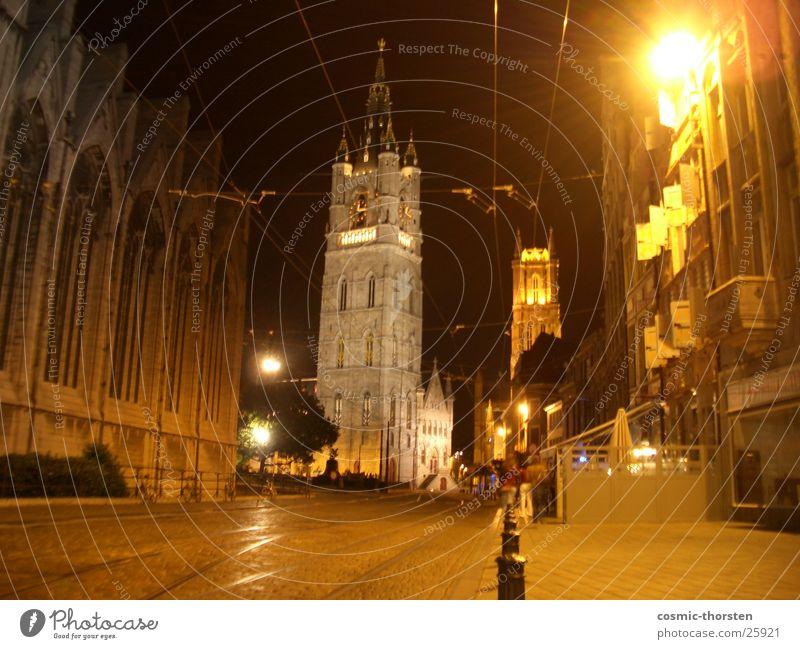 St. - Bavo Kathedrale in Gent Belgien Nacht Langzeitbelichtung dunkel heilig Gotteshäuser Religion & Glaube Straße Architektur